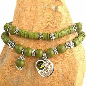 Groen DIY pakketje Fall discs Army green - 2 armbanden