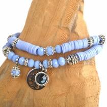 Blauw DIY pakketje Fall discs Sky blue - 2 armbanden