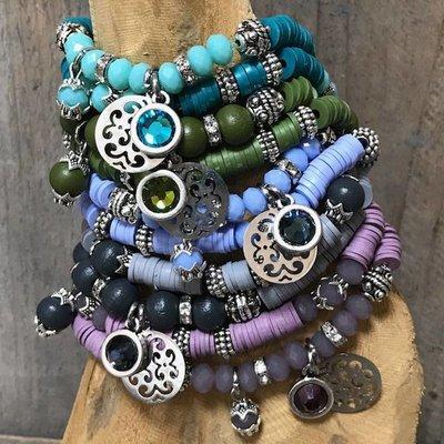 Blauw DIY pakketje Fall discs 5 kleuren - 10 armbanden