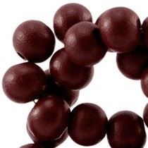 Bruin Houten kralen rond Dark aubergine brown 6mm - 50 stuks