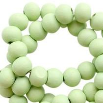 Groen Houten kralen rond Pastel lime green 6mm - 50 stuks