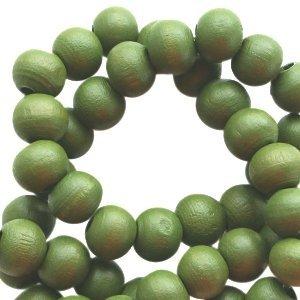 Groen Houten kralen rond Dark army green 6mm - 50 stuks