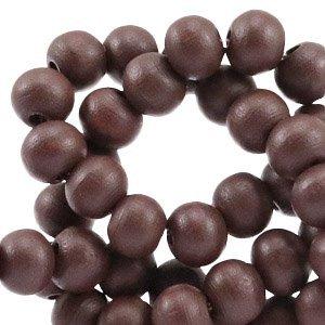 Bruin Houten kralen rond Dark rich brown 6mm - 50 stuks