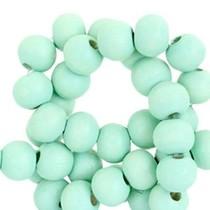 Turquoise Houten kralen rond Light turquoise green 6mm - 50 stuks