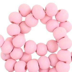Roze Houten kralen rond Bright pink 6mm - 50 stuks
