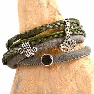 Groen DIY leer wikkel armband Olive green