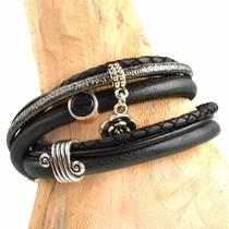 Zwart DIY leer wikkel armband Black