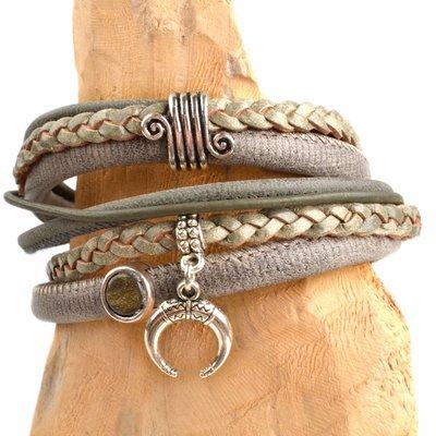 Bruin DIY leer wikkel armband Army grey