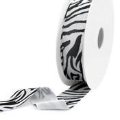 Zwart Elastisch Ibiza lint Black-white 25mm - 1 meter