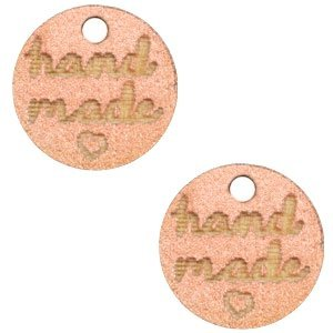 Roze Houten bedels 'handmade' Rosegold 12mm