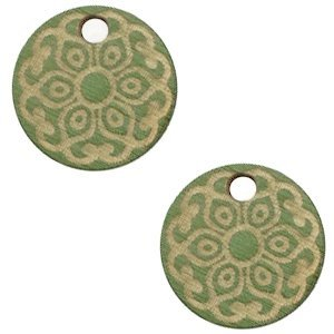 Groen Houten bedels mandala Dark green 12mm