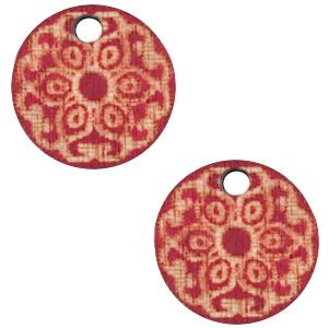 Rood Houten bedels mandala Cherry red 12mm