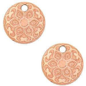 Roze Houten bedels mandala Rosegold 12mm