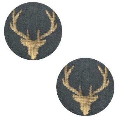 Grijs Houten cabochon reindeer Dark grey 12mm