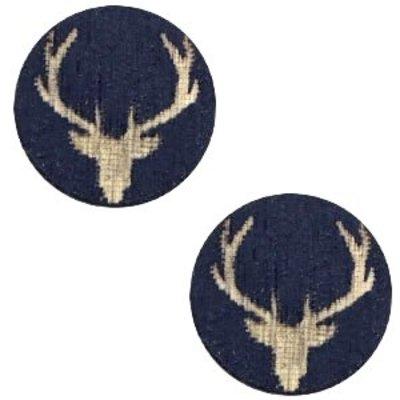 Blauw Houten cabochon reindeer Dark blue 12mm