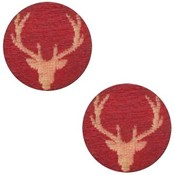 Rood Houten cabochon reindeer Cherry red 12mm