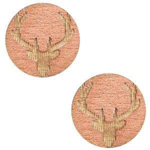 Roze Houten cabochon reindeer Rosegold 12mm