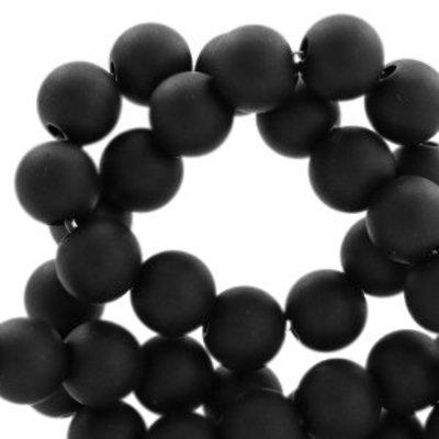 Zwart Acryl kralen mat Deep black 8mm - 50 stuks