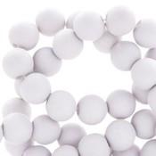 Grijs Acryl kralen mat White grey 8mm - 50 stuks