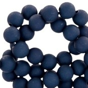 Blauw Acryl kralen mat Prusian blue 8mm - 50 stuks