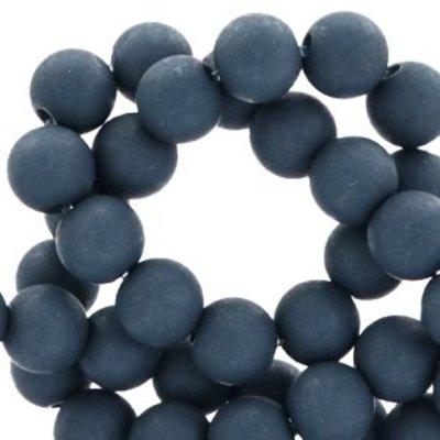 Blauw Acryl kralen mat Stone blue 8mm - 50 stuks