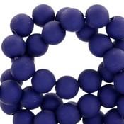 Blauw Acryl kralen mat Royal blue 8mm - 50 stuks