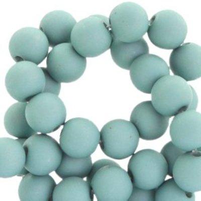 Blauw Acryl kralen mat Dark aqua haze blue 8mm - 50 stuks