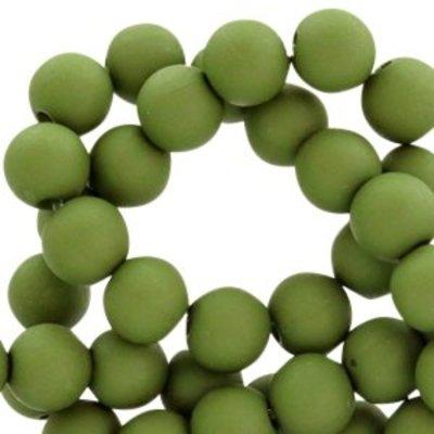Groen Acryl kralen mat Dark green 8mm - 50 stuks