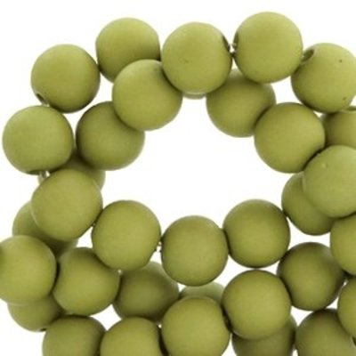 Groen Acryl kralen mat Olive green 8mm - 50 stuks