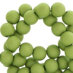 Groen Acryl kralen mat Iguana green 8mm - 50 stuks