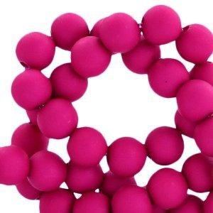 Roze Acryl kralen mat Magenta purple 8mm - 50 stuks
