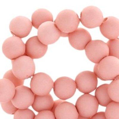 Roze Acryl kralen mat Light shell pink 8mm - 50 stuks