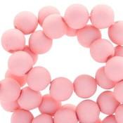 Roze Acryl kralen mat Salmon pink 8mm - 50 stuks