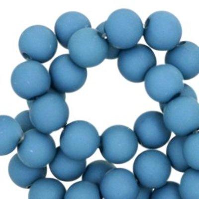 Bruin Acryl kralen mat Aegean blue 8mm - 50 stuks