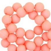 Oranje Acryl kralen mat Coral peach orange 8mm - 50 stuks