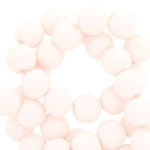 Wit Acryl kralen mat Pale apricot white 8mm - 50 stuks
