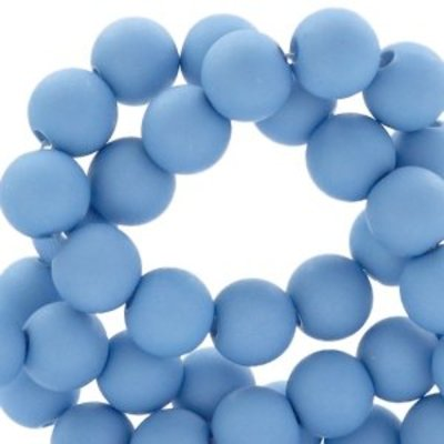 Blauw Acryl kralen mat Light blue-grey 8mm - 50 stuks