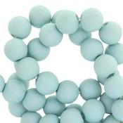 Blauw Acryl kralen mat Aqua haze blue 8mm - 50 stuks