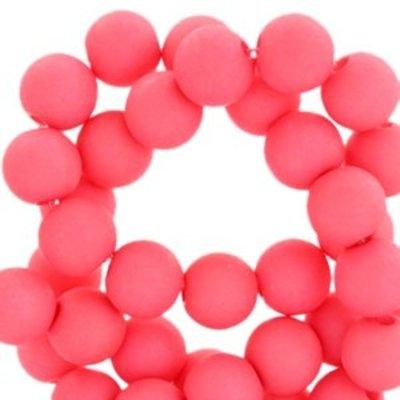 Rood Acryl kralen mat Rouge red pink 8mm - 50 stuks