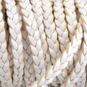 Wit Plat gevlochten leer wit 5x2mm - prijs per 20cm