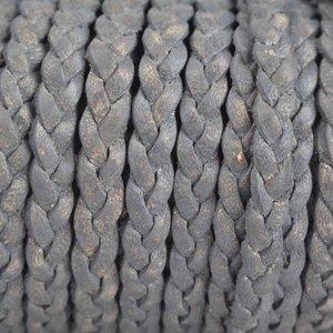 Grijs Plat gevlochten leer vintage grijs 5x2mm - prijs per 20cm