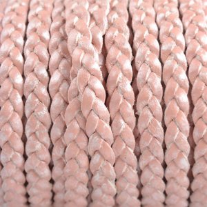 Roze Plat gevlochten leer roze metallic 5x2mm - prijs per 20cm