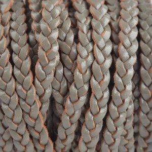 Grijs Plat gevlochten leer army grijs groen 5x2mm - prijs per 20cm