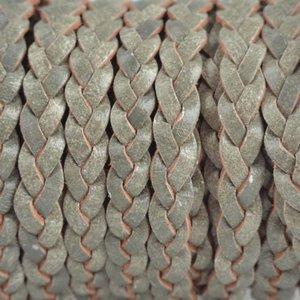 Grijs Plat gevlochten leer vintage army grijs groen 5x2mm - prijs per 20cm