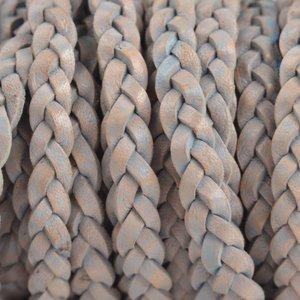 Grijs Plat gevlochten leer vintage licht grijs naturel 5x2mm - prijs per 20cm