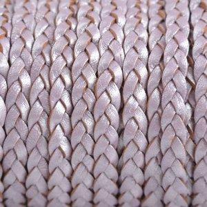 Paars Plat gevlochten leer lila metallic 5x2mm - prijs per 20cm