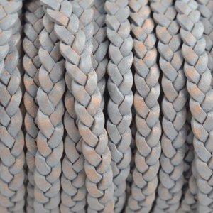 Grijs Plat gevlochten leer vintage grijs naturel 5x2mm - prijs per 20cm