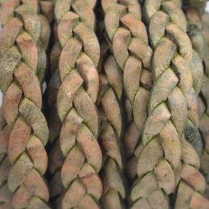 Groen Plat gevlochten leer vintage groen naturel 5x2mm - prijs per 20cm