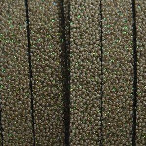 Grijs Plat synthetisch Kaviaar leer army grey 10x2,5mm - prijs per cm