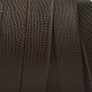 Bruin Plat soft nappa leer bruin gegraveerd reptiel 10x2,5mm - prijs per cm